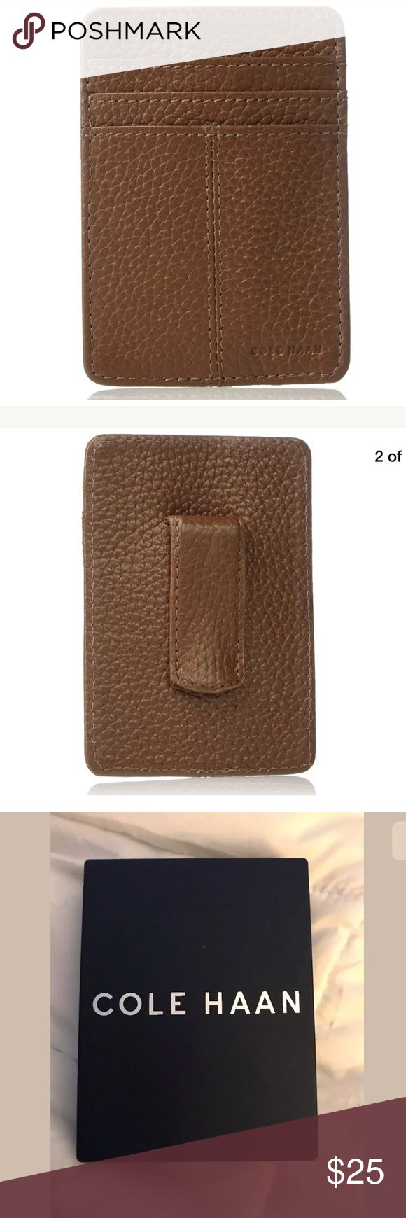 """Cole Haan mens money clip wallet leather NWT 100% genuine leather  Imported  100% polyester lining   4.25"""" high  3"""" wide  pockets: 3 card slots Cole Haan Bags Wallets"""
