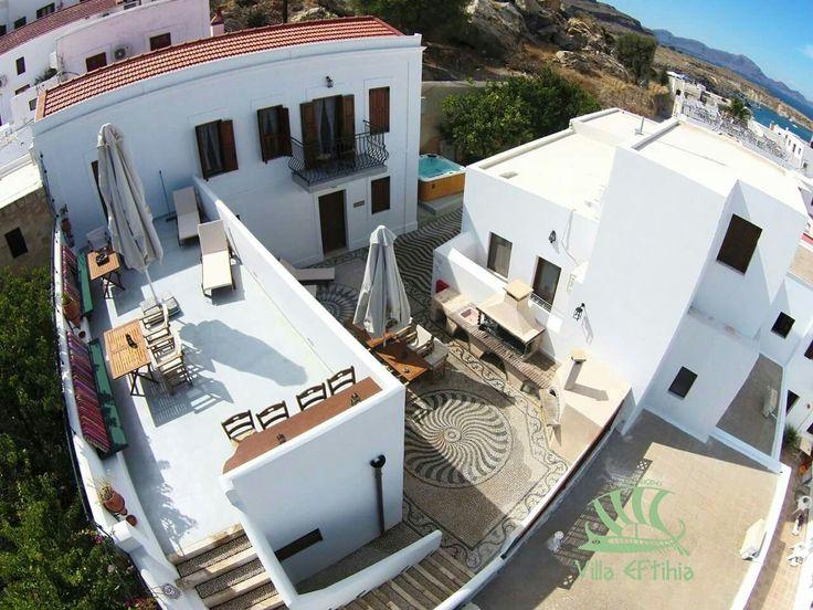Aerial photography of Villa Eftihia Lindos Rhodes Greece