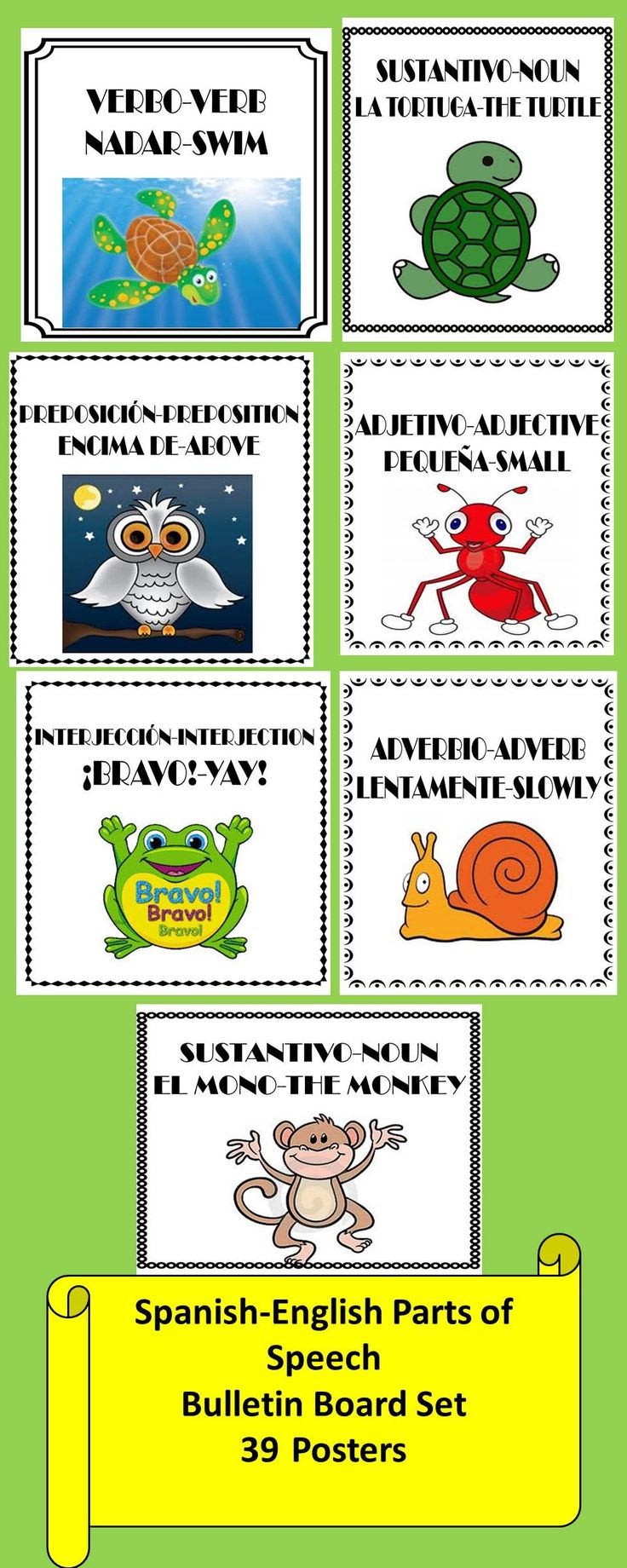 Spanish-English Parts of Speech Bulletin Board Set/Word Wall 39 Posters with cute animal theme!
