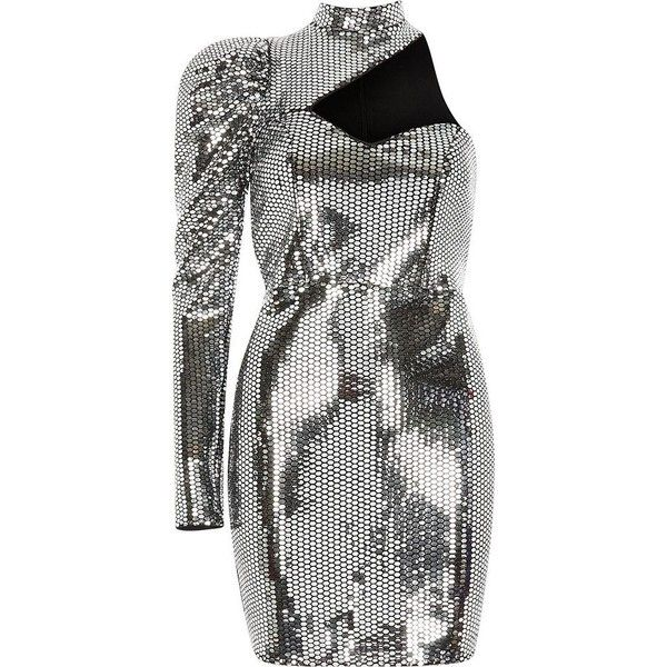 River Island Silver mirror sequin one sleeve cut out dress ($130) ❤ liked on Polyvore featuring dresses, silver, bodycon dresses, women, cutout bodycon dresses, sequin mini dress, sequin cocktail dresses, cold shoulder cocktail dress and silver cocktail dresses