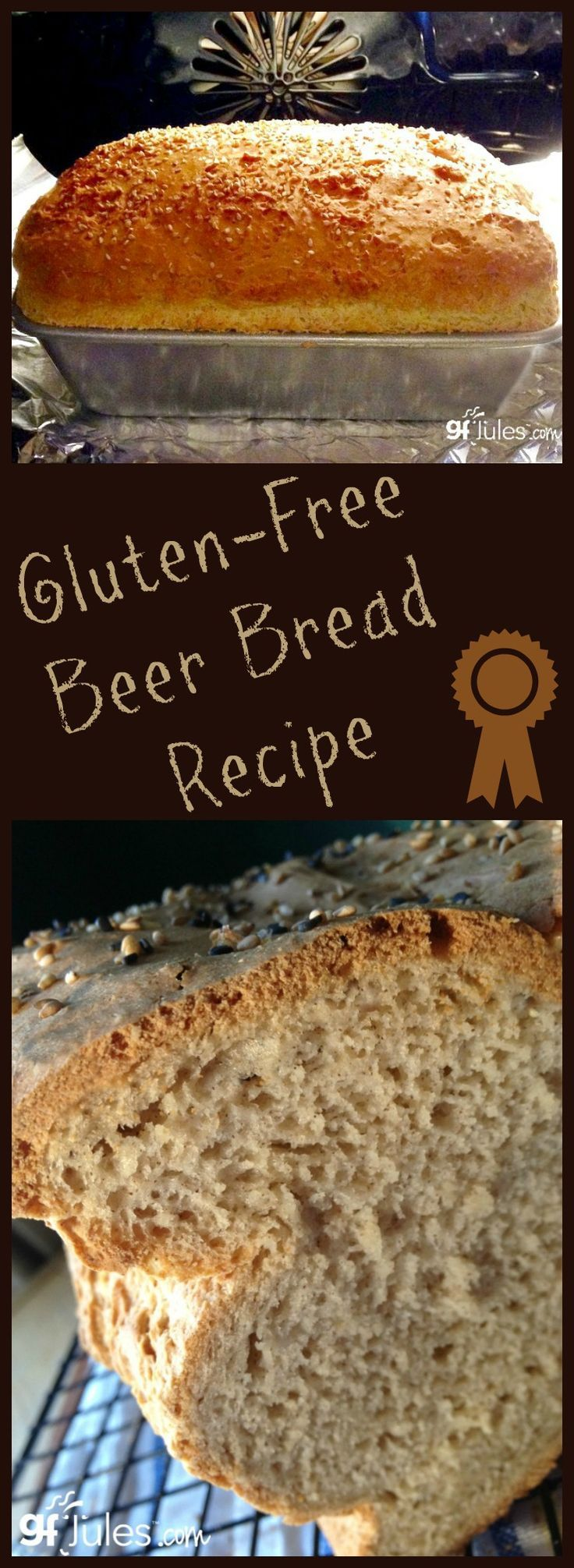 Gluten Free Beer Bread - this recipe makes soft, light and airy bread no one will believe is gluten-free and dairy-free! Use gingerale for alchol-free baking option. http://gfJules.com