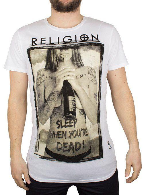Religion Homme Sleep When Your Dead Crew Neck T-Shirt, Blanc, Medium