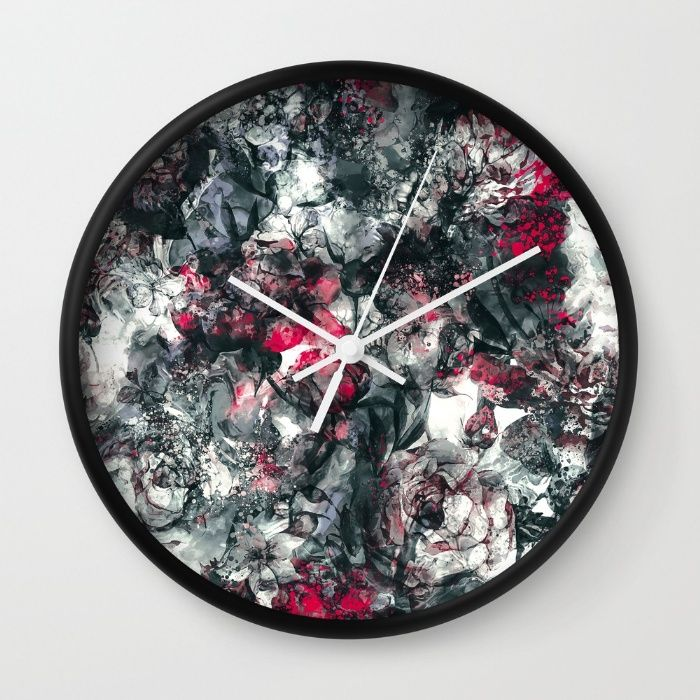 ABSTRACT FLORAL RPE Wall Clock #Tapestry #abstract #floral #marble #art #flowers #homedecor