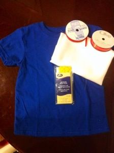 DIY Snow White Inspired Costume Shirt This is for the Snow White shirt Asolid blue t-shirt two different sizes of red ribbon yellow Rick rack clear glitter puff paint (not pictured) I decided to h…
