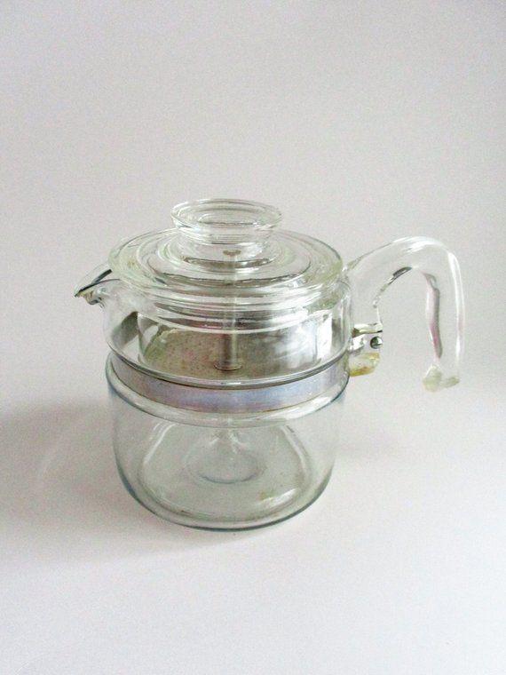 Vintage Pyrex Atomic Carafe Gold Striped Glass Coffee Pot Pitcher Retro Kitchen 1960s Midcentury Pyrex Vintage Retro Kitchen Pyrex