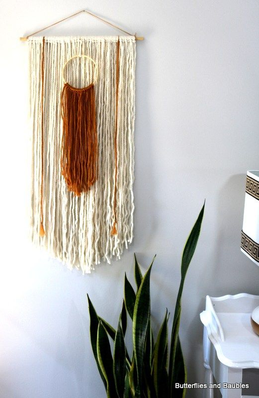 Boho yarn wall art by butterflies and baubles fabric thread yarn diy pinterest foyers - Diy bohemian wall art ...