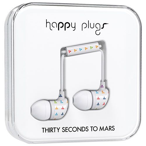Happy Plugs Thirty Seconds to Mars In-Ear Sound Isolating Headphones - White