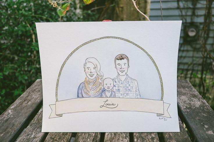 Watercolor Family Portrait. bensonbensonco.com