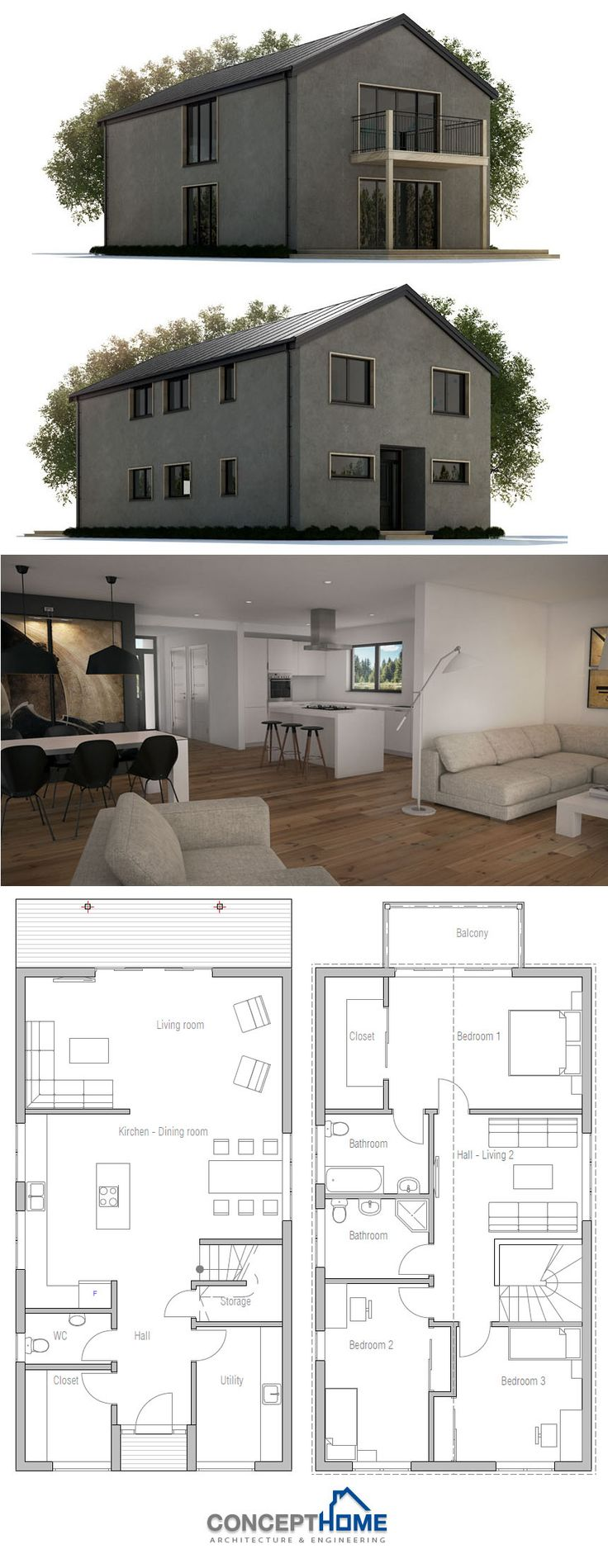 Best Narrow House Plans Images On Pinterest Narrow House