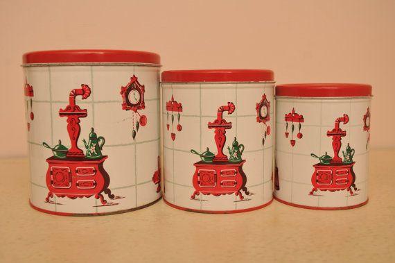 Vintage 1950s Metal Red Kitchen Canister Set by vintagewhitepicket, $34.00