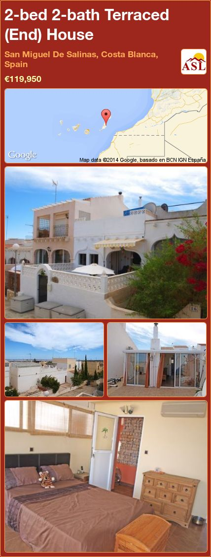 2-bed 2-bath Terraced (End) House in San Miguel De Salinas, Costa Blanca, Spain ►€119,950 #PropertyForSaleInSpain