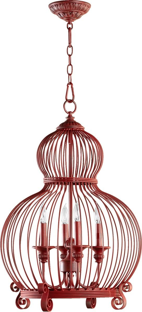 """0-003798>18""""""""w 4-Light China Birdcage Chandelier Red"""