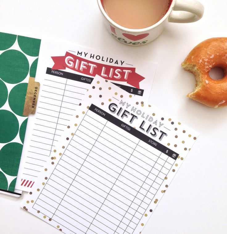 'Gift List' FREE PRINTABLES   Amanda Rose Zampelli
