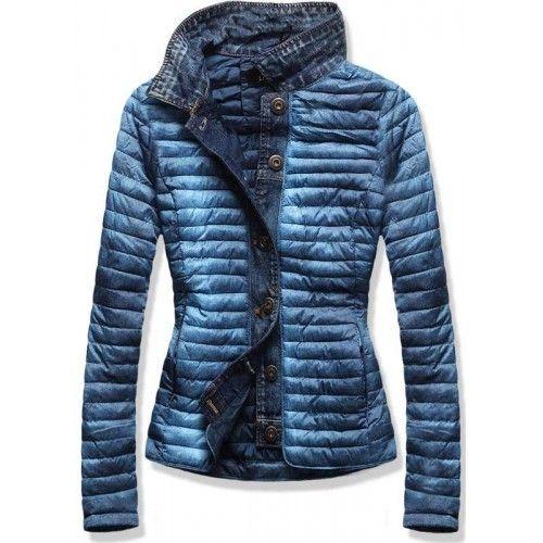 Dámská jarní/podzimní bunda Kiper modrá – modrá – zajímavá dámská bunda – džínová část – zapínání na knoflíky – dvě kapsy na zip – na zadní straně bez dalších ozdob Střih: bez kapuce Trend: bez …