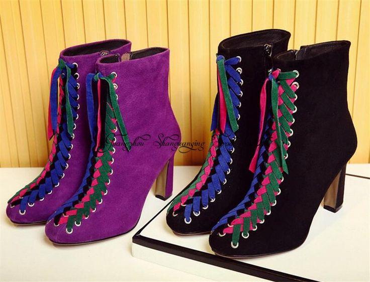 Фиолетовый Замши Ботильоны Квадратных Ног Боковой Молнии Ботинес Mujer высокие Каблуки Женщины Насосы Красочные Кружева Короткие Botas Туфли женщина купить на AliExpress