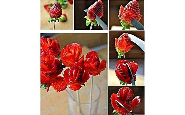 """""""Розы"""" из клубники: Наверняка несколько первых клубничек, так и не став цветочком, исчезнут в желудке кулинара, пока он """"набьет руку"""". Зато процесс доставит"""