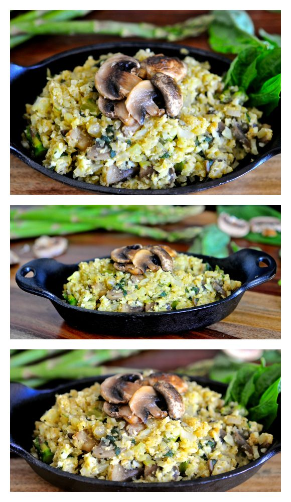 This recipe for Cauliflower Rice Risotto with Asparagus and Mushroom is absolutely delicious and satisfying. It's Gluten-free, Fat-free, sugar-free, vegan, paleo and complex carb-free!