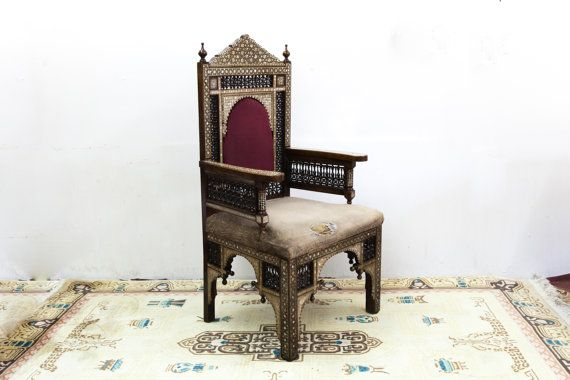 Intricately Inlayed Mediterranean Chair