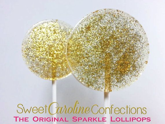Faveurs de mariage or Sparkle Lollipops par SweetCarolineConfect