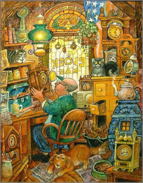 Bill Bell (b.1934)  — The Clockman   (467×600)