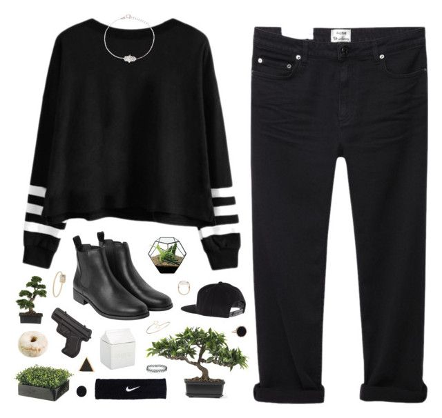 """Tora"" by tamy55 ❤ liked on Polyvore featuring Acne Studios, Monki, Salvatore Ferragamo, Nearly Natural, Ginette NY, NIKE, Ingenious Jewellery, Jennifer Meyer Jewelry, Topshop and BIA Cordon Bleu"