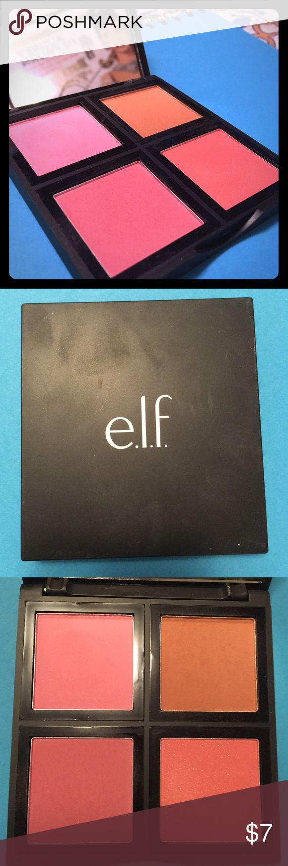 ELF Blush Palette in Light The famous ELF blush palette in Light! One of my all time favorite blushes! These are very pigmented and nearly rival Tarte's blushes in pigmentation. Two colors swatched and the other ones are untouched. Great blush palette for a great price! ELF Makeup Blush