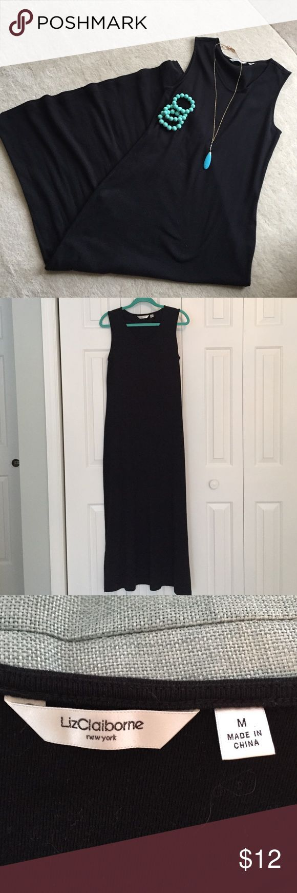 "Liz Claiborne Mew York Black Maxi Dress Liz Claiborne v-neck black maxi dress. 100% cotton, machine wash. Very good condition. Only worn a couple times. Semi-fitted & arm holes fit nicely so no bra showing. 8"" bottom side slits. You can do so much with this dress. Liz Claiborne Dresses Maxi"