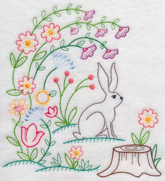 Machine Embroidery Designs at Embroidery Library! - Bunny in Blooms (Vintage)