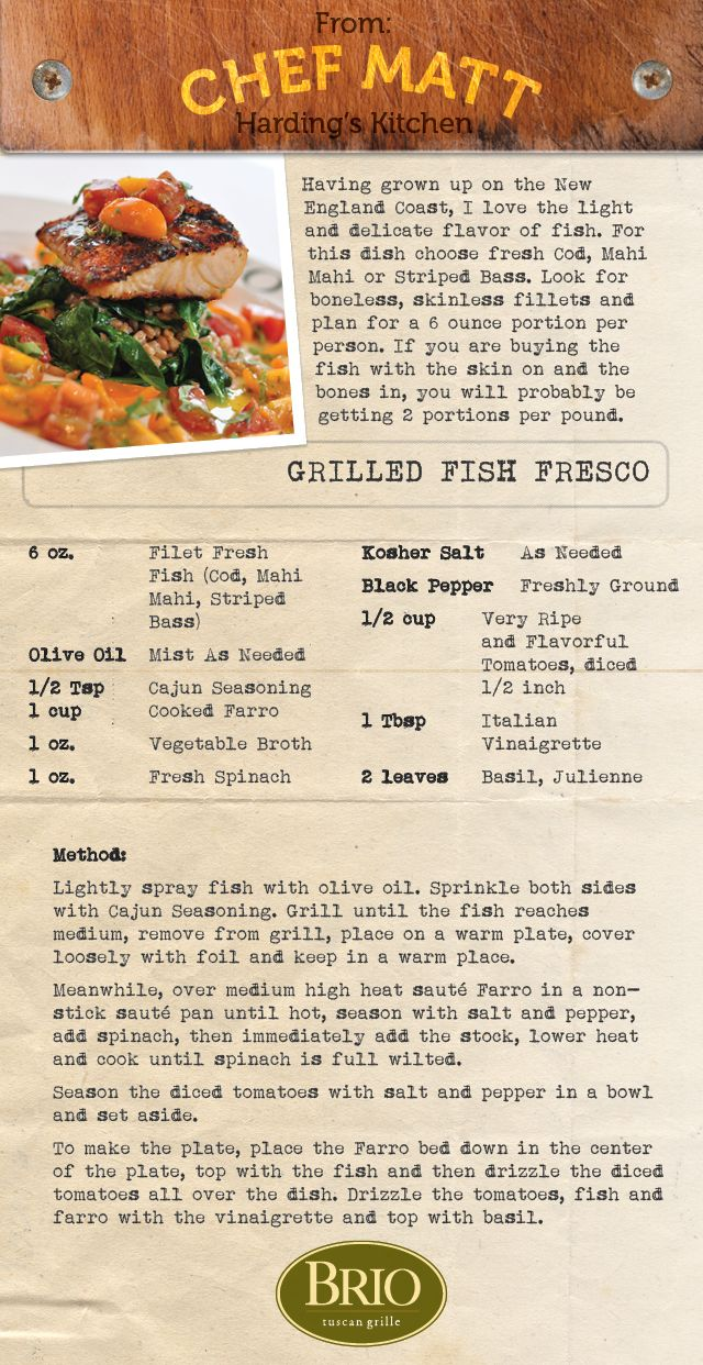 Recipe for Grilled Fish Fresco from Brio Tuscan Grille.   Brio_Jan_Recipe_Page.jpg 640×1,242 pixels