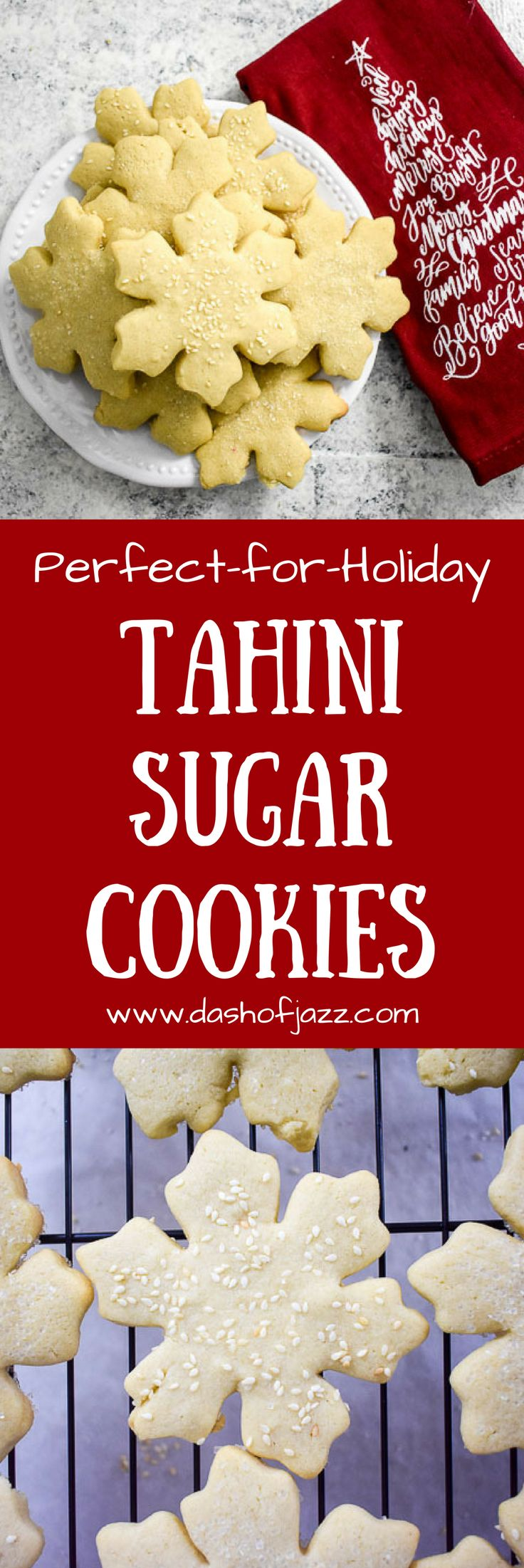 Uniquely-flavored tahini sugar cookies are perfect for the holidays or any time of year. Cut them out in your favorite shapes and enjoy the toasty tahini flavor that balances out the classic sugar cookie flavor. Recipe by Dash of Jazz via @dashofjazzblog