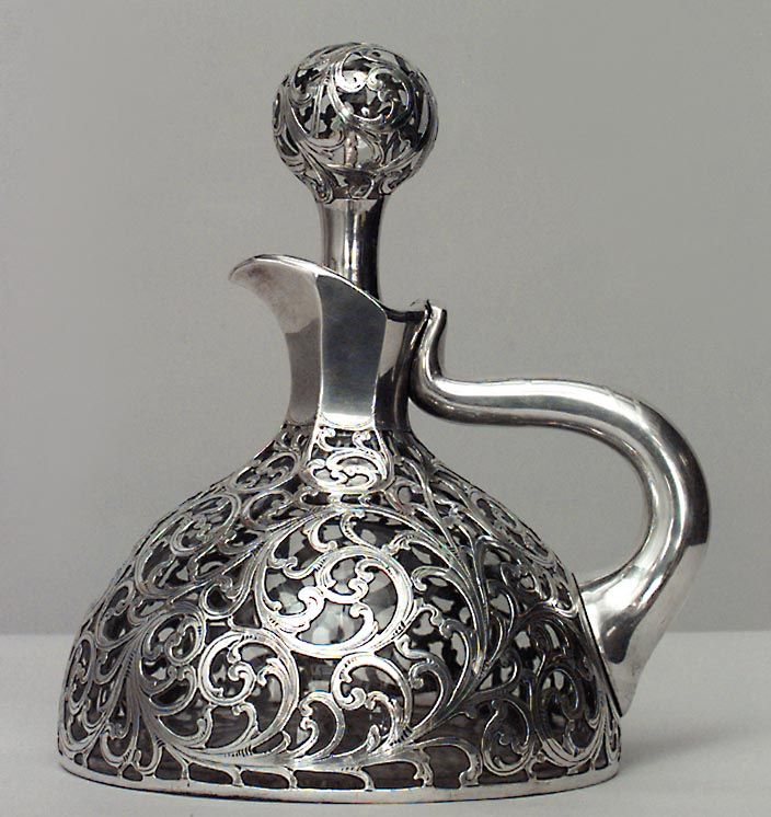 French Victorian silver deposit scroll design decanter with handle and stopper