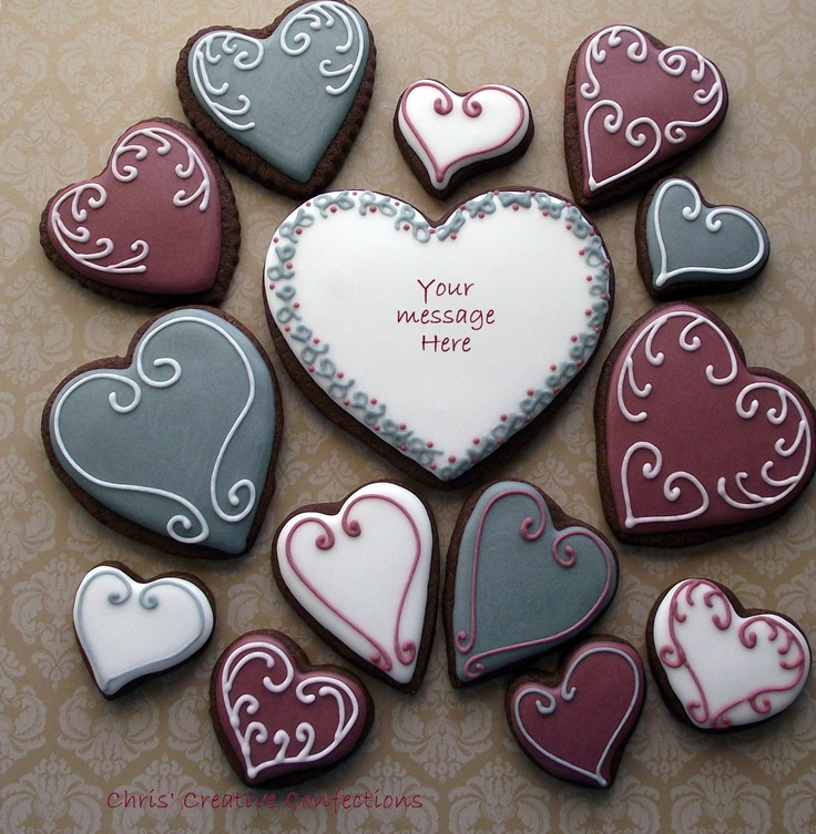 Valentine Heart Decorated Sugar cookies. $36.00, via Etsy.