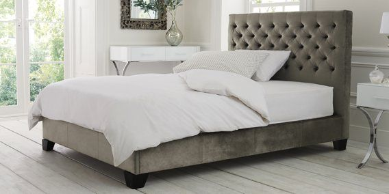 Buy Paris King bed with 2 storage drawers Classic Velvet French Grey from the Next UK online shop