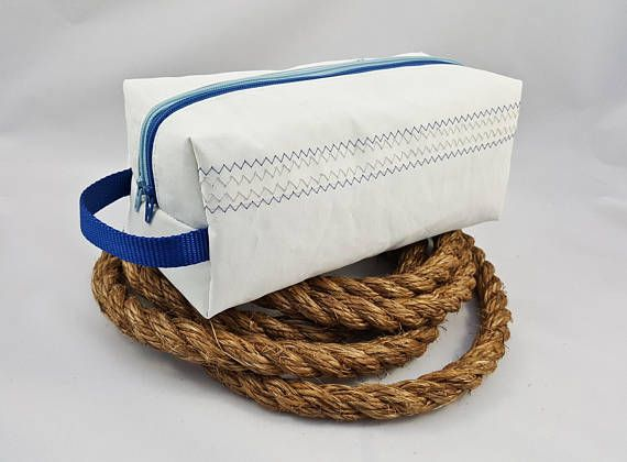 Sailcloth Double-Zipper Travel Bag with Blue Whale Linings ... #recycledsailcloth #sails #retiredsails #sailing #sailcloth #recycled #upcycled #makeupbag #cosmeticsbag #sailclothbag #whales #travelbag #toiletriesbag #giftforher #sailor #nautical