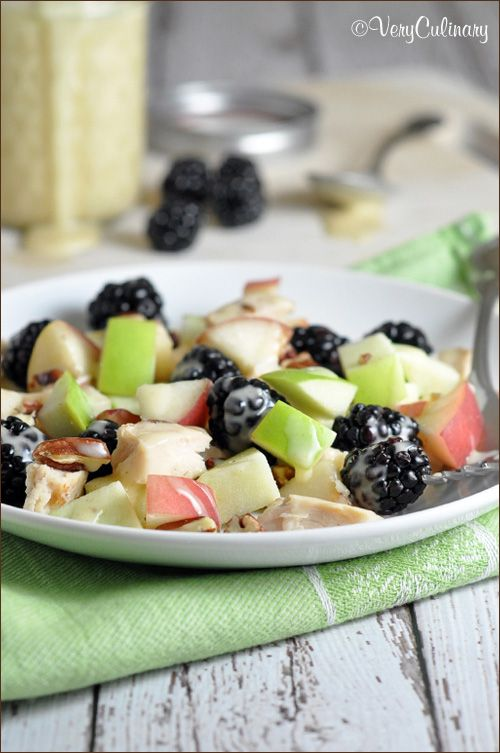 This simple chicken salad with honey-sesame dressing and fresh fruit is perfect for a lovely lunch or light dinner.