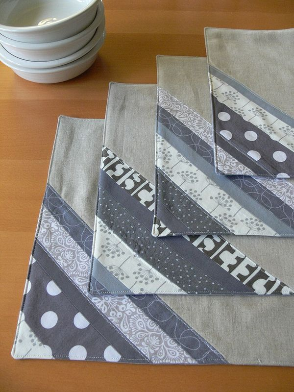 Grey Stripe Patchwork Placemats by Jenny Bartoy on Stumbles & Stitches