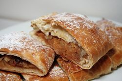 Apfelstrudel (2): Apple strudel (Apfelstrudel) is a traditional Viennese strudel and a popular pastry in Austria and in many countries in Europe that once belonged to the Austro-Hungarian empire (1867-1918).