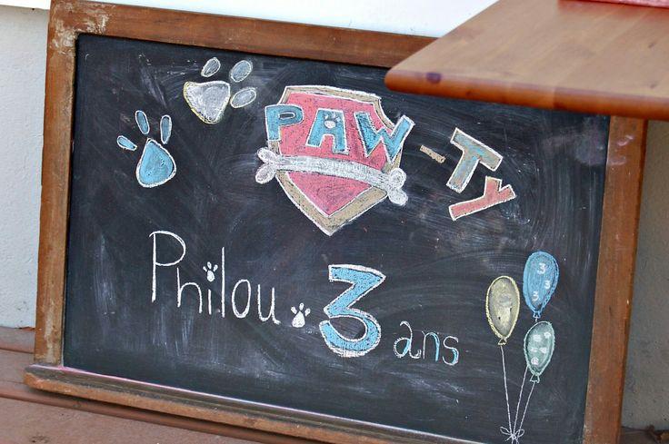 Ardoise fête Pat Patrouille 3ans