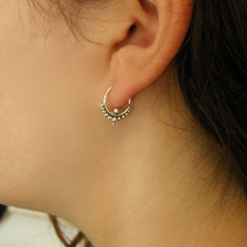 Ornamented Silver Earrings  cartilage jewelry  Septum by RONIBIZA, $16.50