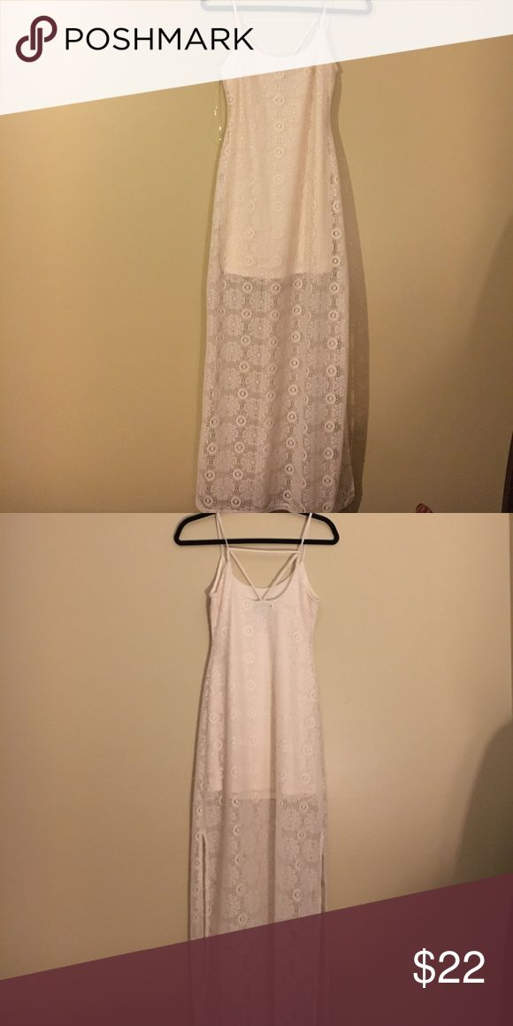 Wet Seal cream maxi dress. Never worn. Wet Seal cream maxi dress. Lace with slits on sides. Size small with tags! Wet Seal Dresses Maxi