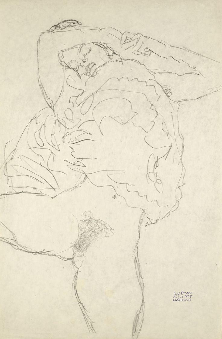 Gustav Klimt LIEGENDER HALBAKT MIT GESPREITZEN BEINEN (RECLINING SEMI-NUDE WITH SPREAD LEGS) stamped with the Nachlass mark pencil on paper 56.5 by 37.2cm.; 22 1/4 by 14 5/8 in. Drawn circa 1917-18.Gustav Klimt | lot | Sotheby's