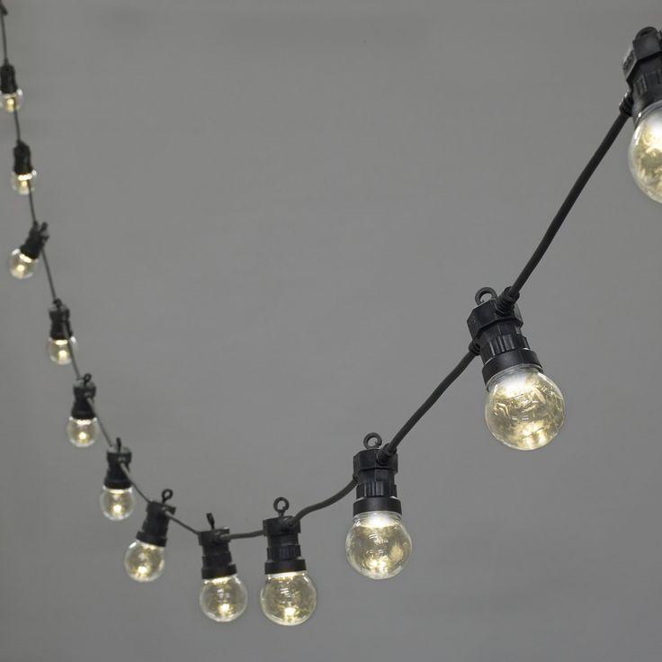 20er LED Party Lichterkette klar Strombetrieb 5m koppelbar Batterie Solarbetrieb möglich Typ U Lights4fun