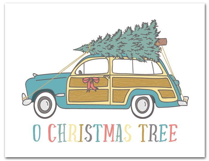 Free Printable Christmas Tree Car | Download this fun and free vintage holiday printable instantly at ishouldbemoppingthefloor.com