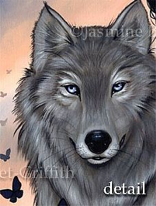 easy acrylic painting on canvas wolves | Silver Wolf - by Jasmine Ann Becket-Griffith from Gallery