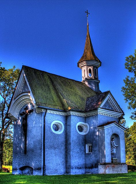 small church in Germany: Country Church, Small Church, Round Window, Beautiful Church, Blue Church, Germany Travel, Travel Tips,  Church Building, God Houses