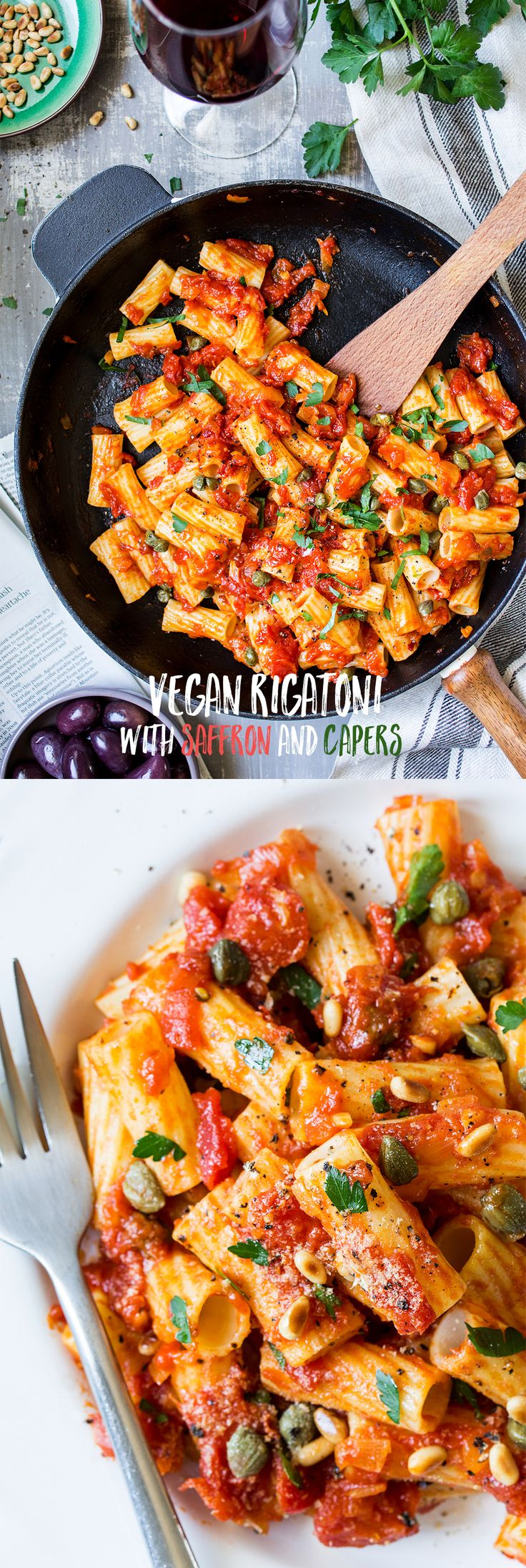 Vegan rigatoni with saffron, capers and tomatoes