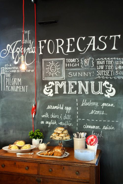 breakfast room of the salt house inn - chalk board menu wall with daily forecast