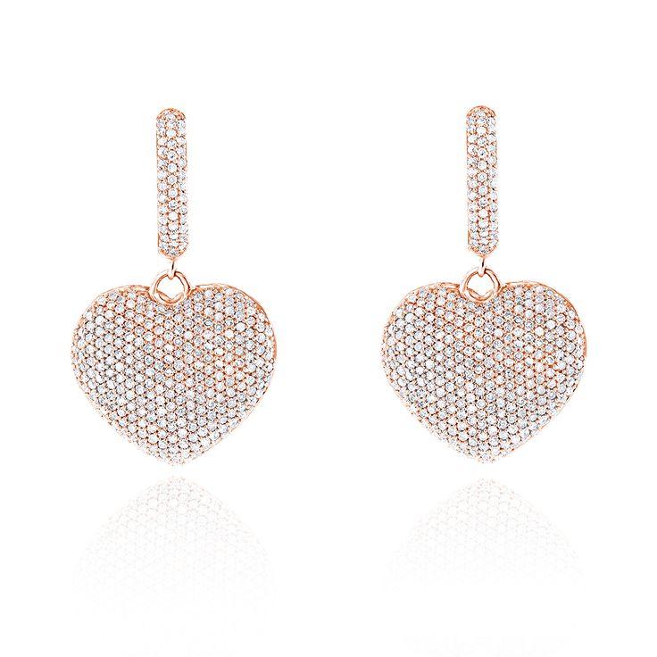 Diamantohrringe Herz Pavee - 2.50 Karat Diamanten in 585er Rosegold von www.juwelierhausabt.de