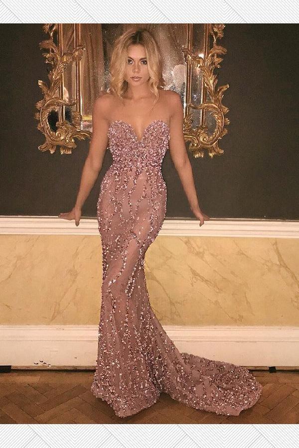 Prom Dresses Pink, Prom Dresses Mermaid, Sexy Prom Dresses