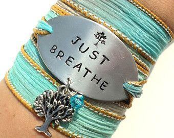 Silk Wrap Bracelet JUST BREATHE  Silk Wrap van SailorStudio op Etsy